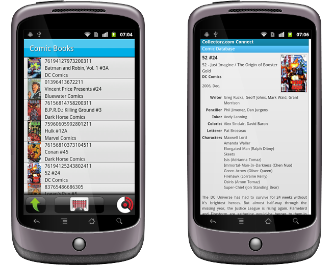 CLZ Barry for Android listing scanned comics