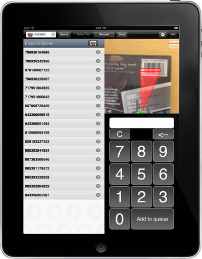 Barcode scanning with the iPad app